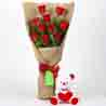 10 Red Roses Bouquet & Teddy Bear